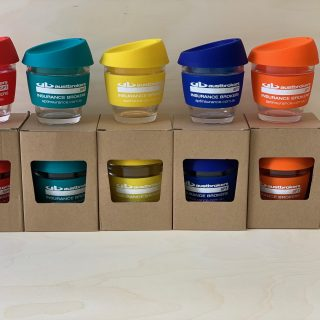 Glass Reusable coffee cups for Austbrokers