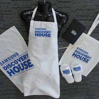 Promotional Products for Samsung Event. Towels, Slippers, Bag, Chopsticks, Aprons with Screen Printing