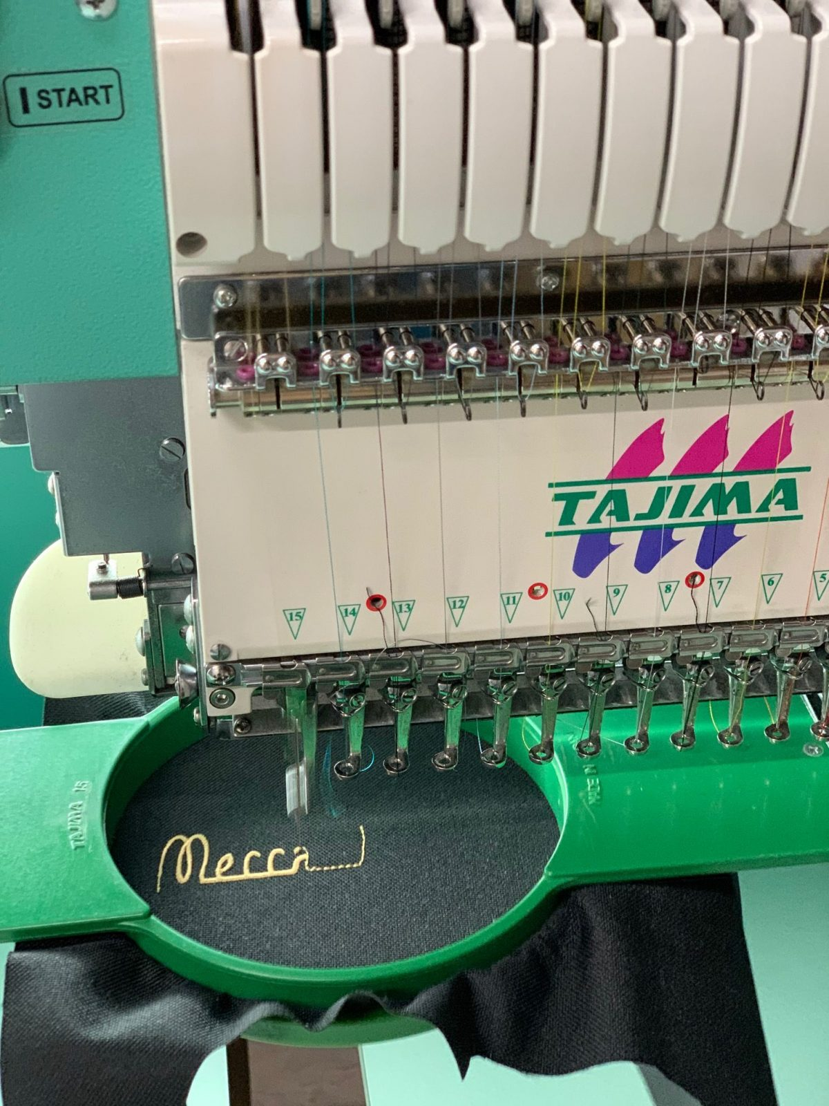 Mecca Bar Apron Embroidery on The Machine