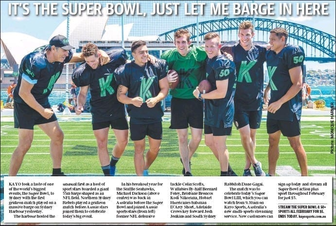 News Article For Super Bowl In Sydney Habour